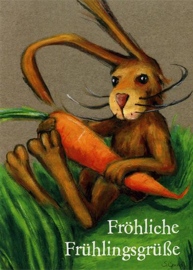 Kunstpostkarte Fröhliche Frühlingsgrüße Hase mit Karotte