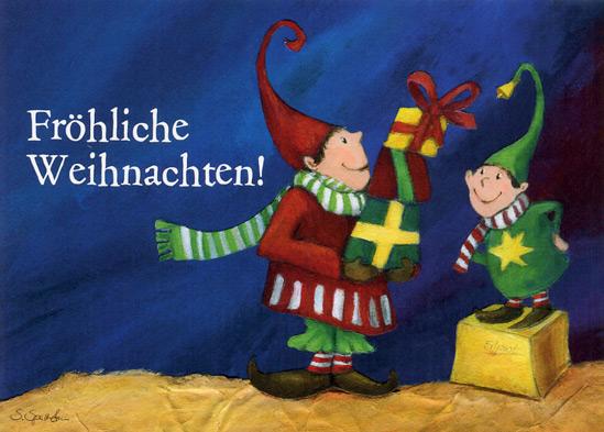 Weihnachtkarte, Wichtel mit Geschenken,