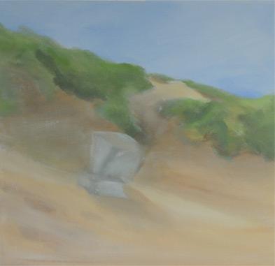 Strandkorb am Strand von Sylt- Acryl auf leinwand- noch unvollendet